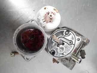 Mower carburetor gumming