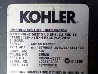 Kohler model number