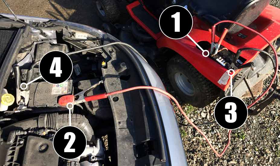 Jump starting lawn tractor Procedure