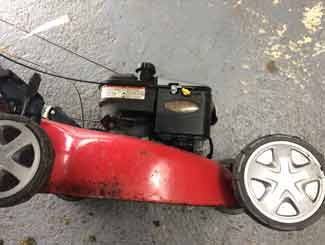 Mower on its side