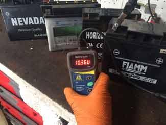 Mower battery testing