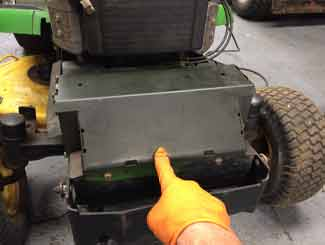 Ride-on mower muffler