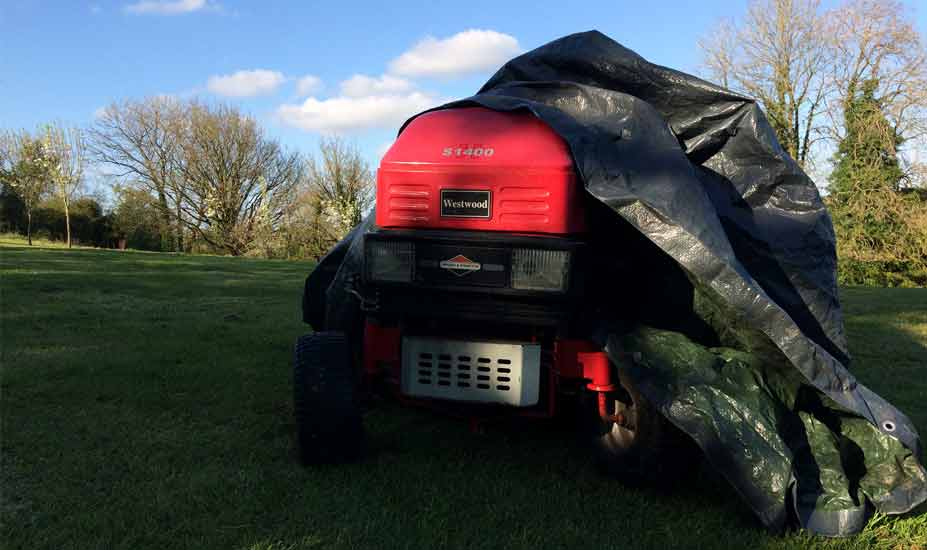 Ride-on mower storage
